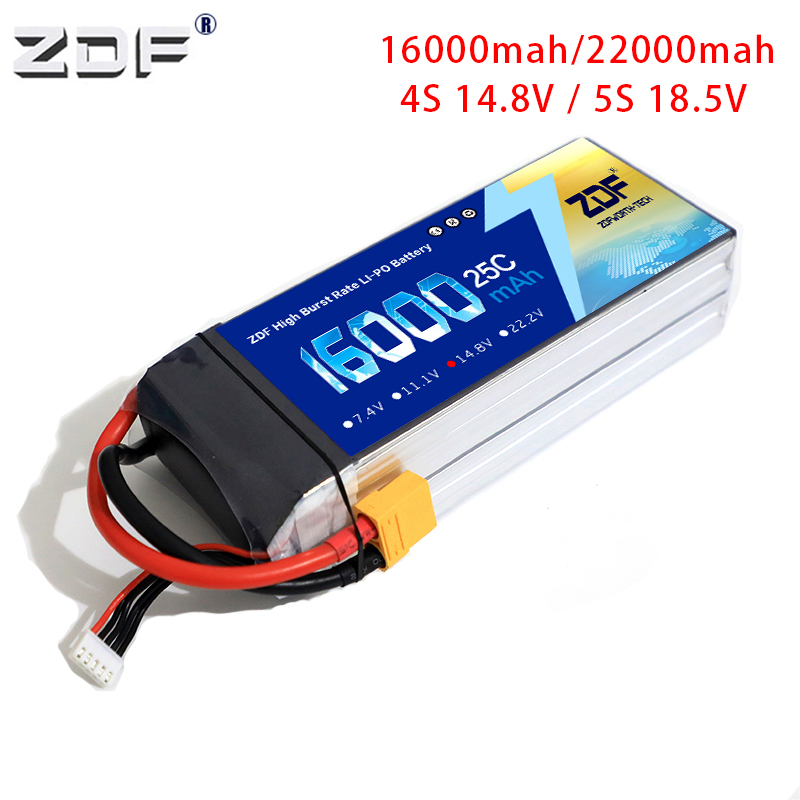 ZDF <font><b>LiPo</b></font> Battery <font><b>4S</b></font> 5S 14.8V 18.5V <font><b>16000mah</b></font> 22000mAh 25C FOR RC Drone Quadrotor Helicopter Car Boat Batteries Li-Po <font><b>4S</b></font> 5S AKKU image
