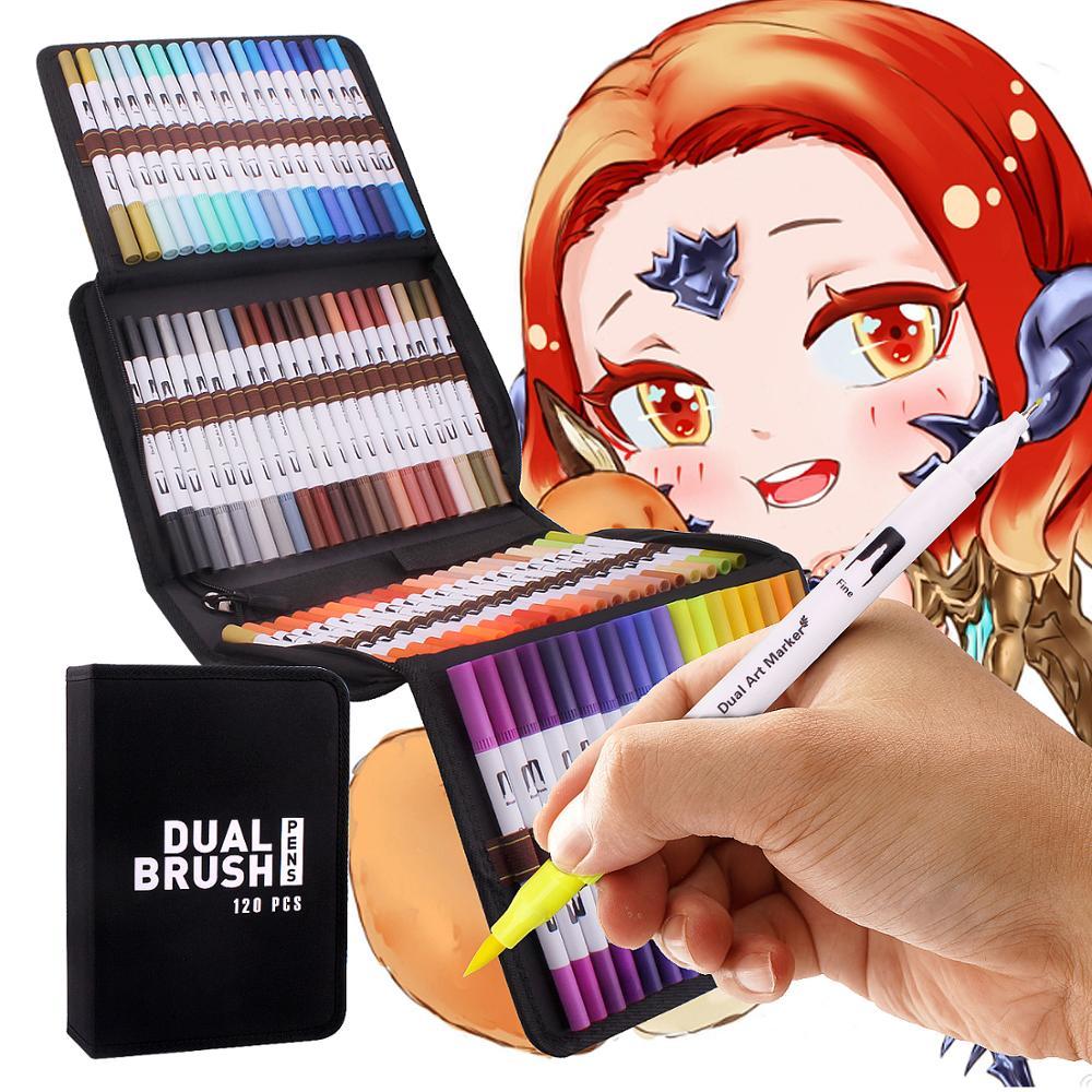120 farben Kunst Marker Set Dual Tipps Färbung Pinsel Fineliner Farbe Marker Stifte für Kalligraphie Zeichnung Skizzieren Färbung