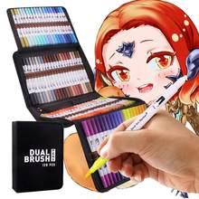 120 couleurs Art marqueurs ensemble double conseils coloriage pinceau Fineliner couleur marqueur stylos pour calligraphie dessin croquis coloriage