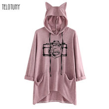 TELOTUNY Character Printed Cat Ear Long Women Hoodie With Pocket Spring Autumn Pullover Sweatshirt Casual Tops Ladies Blouse 828(China)