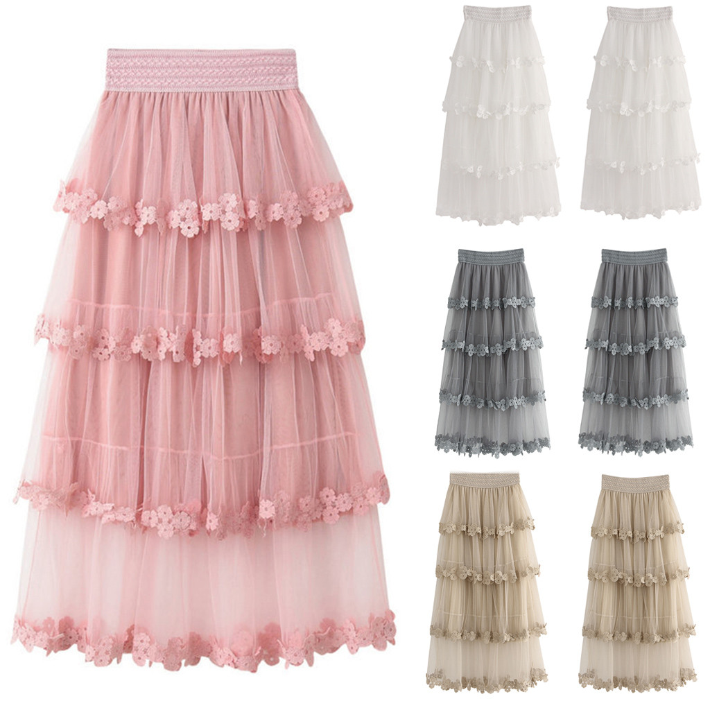 Women Rufflestulle Skirts Fashion Elastic High Waist Mesh Tutu Skirt Pleated Long Skirts Midi Skirt Saias Faldas Jupe Femmle d5