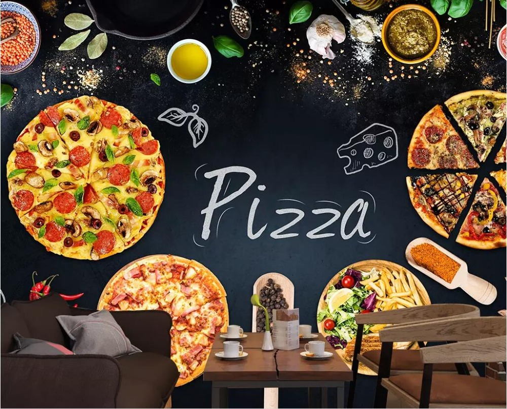 CJSIR Custom Wallpaper 3D Mural Personality Pizza Cake Shop Blackboard Newspaper Background Wall Decoration Papel De Parede