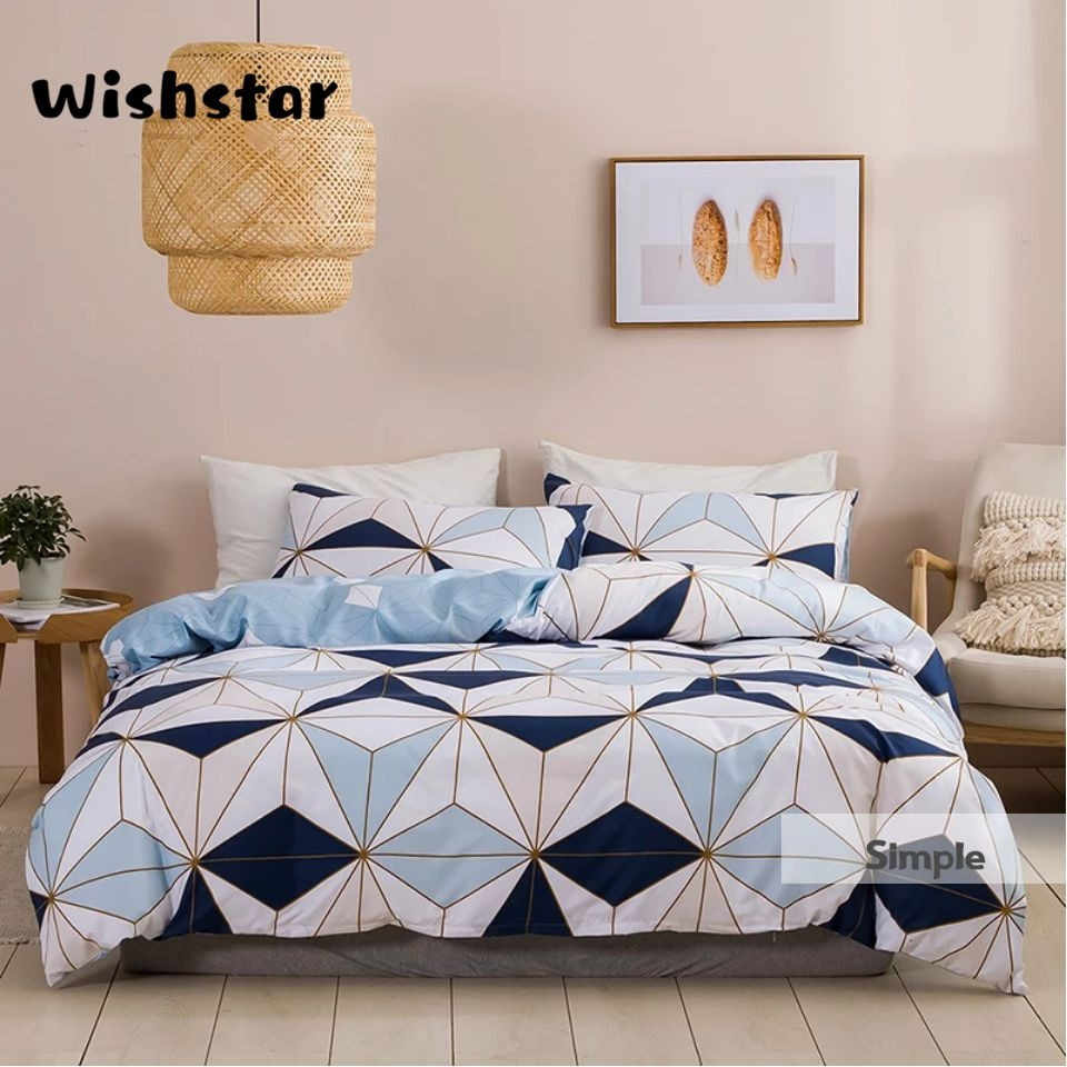 Blue White Geometric Printed Duvet Cover Set Nordic Simple Quilt Cover Pillowcase 3 Pcs Single Double Boy Girls Bedding Bedding Sets Aliexpress