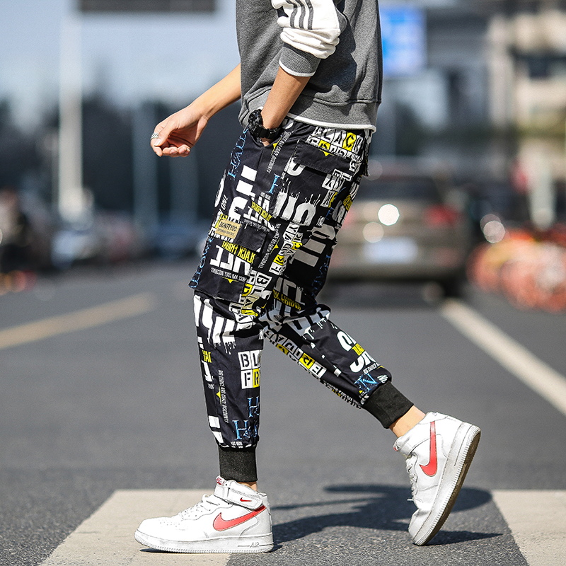 2020 New Men Cargo Pants Streetwear Hip Hop Sweatpants Joggers Harem Pants Elastic Waist Printed Male Harem Trousers