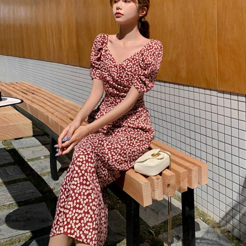 Casual Long Women Dress Cherry Print Short Sleeve Holiday Boho Beach Summer Dress 2021 Square Collar Vintage Dress Vestidos Robe