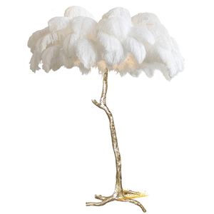 Image 4 - Nordic Ostrich Feather Living Room LED Floor Lamps Living Room Bedroom Modern Interior Lighting Decor Floor Light Standing Lamp