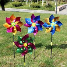 Toys Wind-Spinner Windmill-Decoration Party Kids 2pcs Glitter Outdoor-Games Colorful