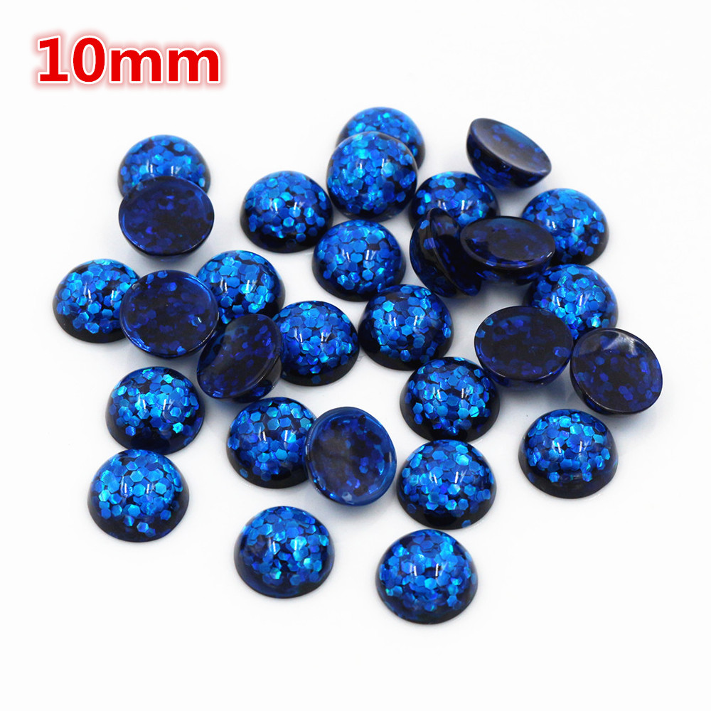 New Fashion 40pcs 10mm Blue Color Flat Back Resin Cabochons Cameo  O6-17