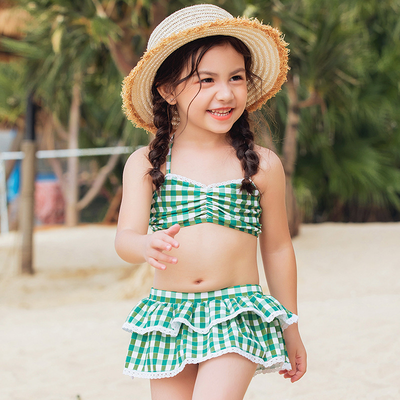 2019 Korean-style Girls Plaid Bikini Bathing Suit KID'S Swimwear Women's Cute Fashion Sweet Split Skirt-Style Bathing Suit