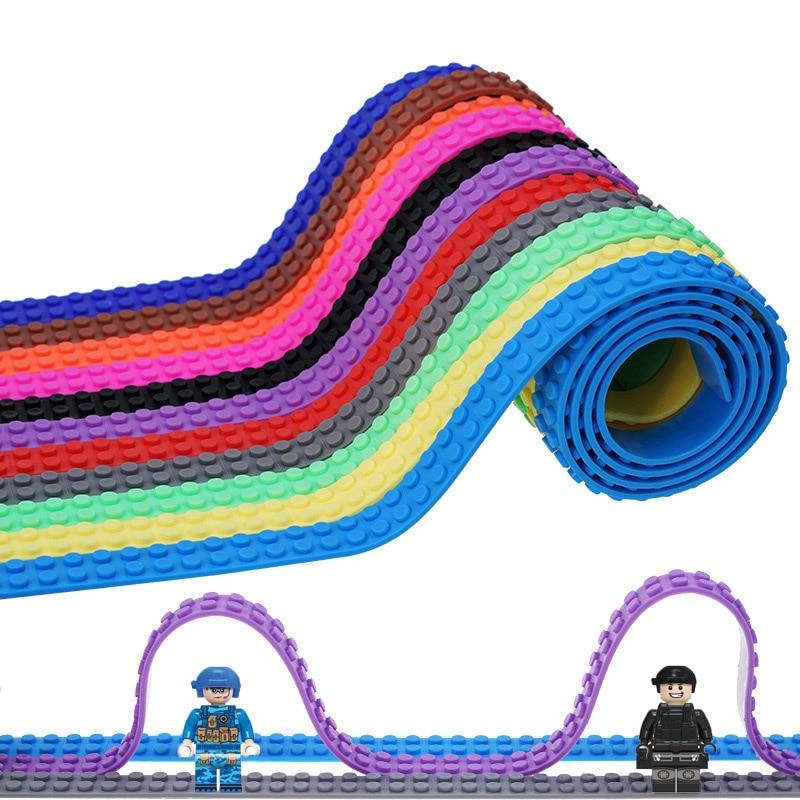 100CM 2X124 Dots Plastic Loops Base Plate Small Blocks Toy Adhesive Tape Kids Adult DIY Building Blocks Sticky Brick Figure Tape