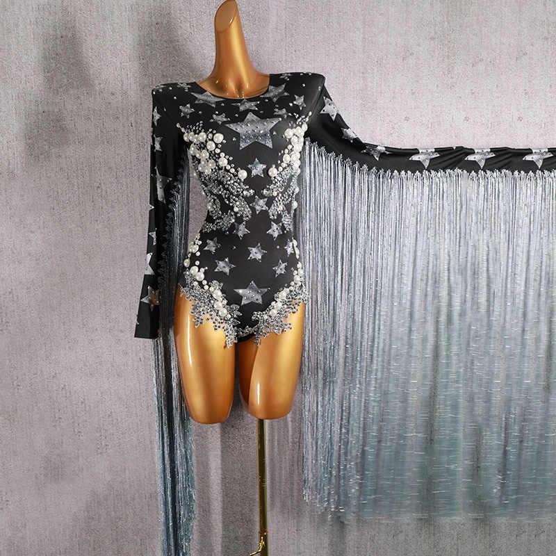 Бахромой кристаллы Для женщин наряд джаз танец костюм стразы сексуальное боди Черный певица танцор ночной клуб олень Выходные туфли на выпускной бал комбинезон DJ210