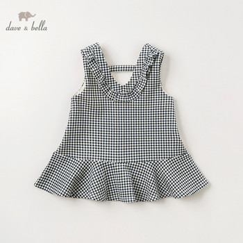 DBM11127 dave bella autumn infant baby girls cute plaid strap dress lolita party suspenders dress toddler children clothes image