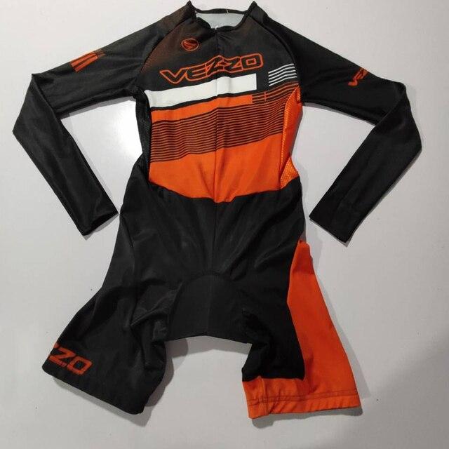 Vezzo verão mangas compridas mulheres bicicleta skinsuit roupa de ciclismo speedsuit mtb ciclismo triathlon esportes ao ar livre wear macacão 2