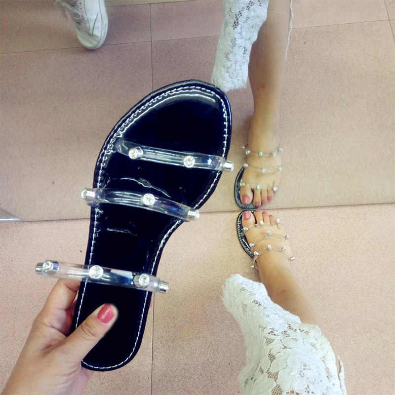 MCCKLE Frauen Sommer Kristall Transparent Hausschuhe Frau Candy Farben Flache Weibliche Slides Damen Flip-Flops Mode Strand Schuhe Neue