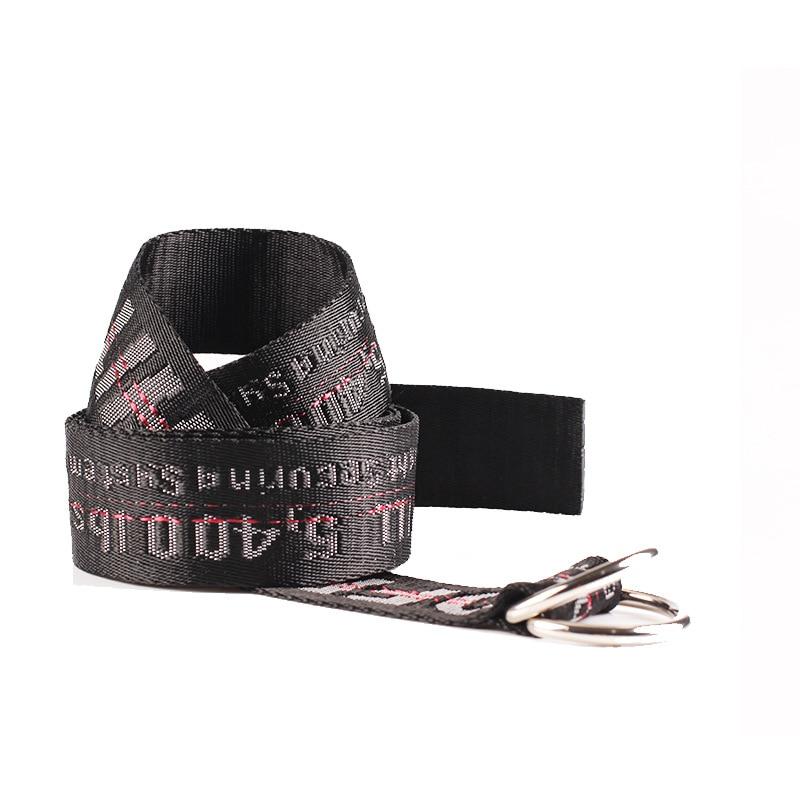 TagerWilen ремень стиль буквы напечатаны мода унисекс двойное D Кольцо холст ремень длинные джинсы ремни для женщин брезентовый мужской ремень - Цвет: Off-Black