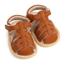 Summer Newborn Shoes Baby Boys Sandals Soft Leather Bebe Boys Prewalker Soft Sole Genuine Leather Beach Sandals 4 Colors