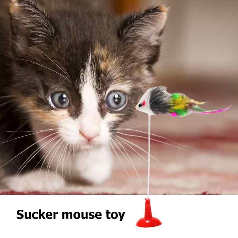 재미 있은 애완 동물 고양이 상호 작용하는 장난감 봄 흡입 컵 틀린 시뮬레이션 마우스 운동 고양이 발톱 플라스틱과 견면 벨벳 티저 장난감 20cm