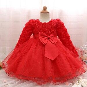 Image 2 - 長袖幼児女の子のドレスのレースの花のための洗礼ドレス女の子初年度誕生日結婚式ベビー服