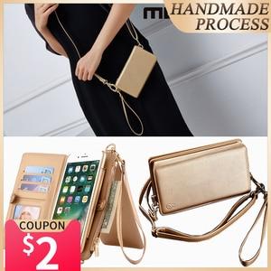 Image 1 - Musubo moda dziewczyna skórzany pokrowiec na iPhone SE 7 Plus luksusowa torba na telefon wyposażony pokrowiec na iphone 8 Plus 6 6s kobiet portfel Coque