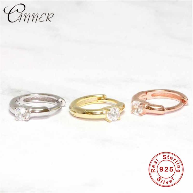 CANNER 925 pendientes de plata de ley CZ Zircon pendientes redondos para mujer joyería de moda pequeños pendientes de oro Higgie Brinco