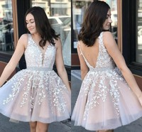 Hot Sell Blush Pink Mini Short Homecoming Dresses Cocktail Dress V Neck Appliques Tulle Knee Length Prom Party Gowns Cheap