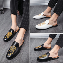 Half Shoes for Men Fashion Luxury Brand Casual Slippers Breathable Summer Slip on Lazy Shoe Rhinestone Cow Leather Slippers 2020 summer cool rhinestones slippers for male gold black loafers half slippers anti slip men casual shoes flats slippers wolf