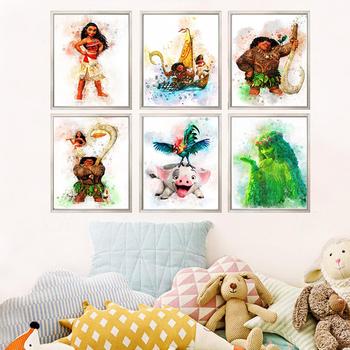 Disney Moana Catoon akwarela plakat Maui Pua Hei Hei TeFiti płótno malarstwo ścienne sztuki obraz dla dzieci pokój wystrój domu Cuadros tanie i dobre opinie CN (pochodzenie) Wydruki na płótnie Pojedyncze PŁÓTNO Wodoodporny tusz cartoon bez ramki abstrakcyjne Malowanie natryskowe