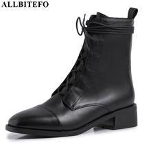ALLBITEFO hoge kwaliteit lederen Frenulum enkellaars voor vrouwen winter vrouwen laarzen beknopte dames schoenen meisjes laarzen