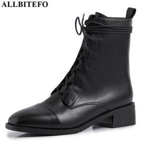 Image 1 - Allbitefo 여성을위한 고품질 정품 가죽 frenulum 발목 부츠 겨울 여성 부츠 간결한 숙녀 신발 여자 부츠