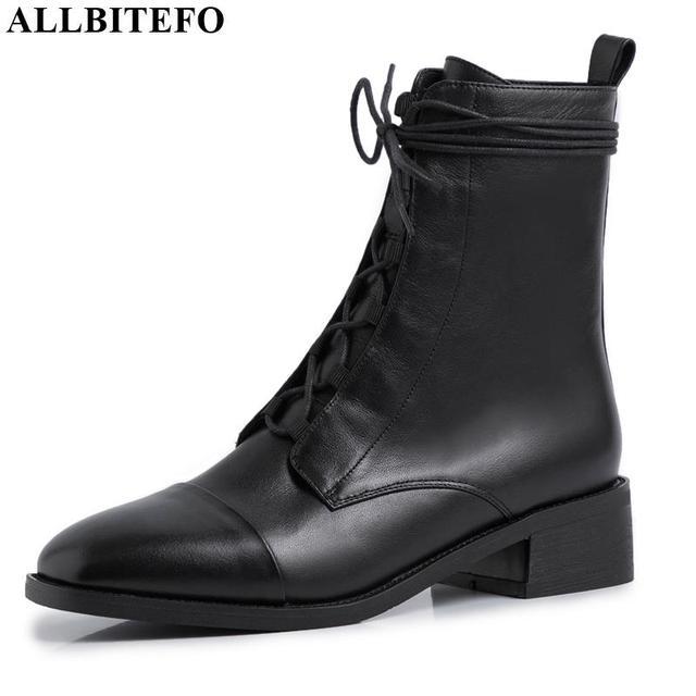 Allbitefo 여성을위한 고품질 정품 가죽 frenulum 발목 부츠 겨울 여성 부츠 간결한 숙녀 신발 여자 부츠