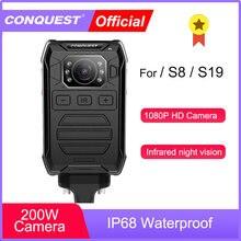 Conquista p81 corpo desgastado câmera hd 1080p dvr câmera de segurança de vídeo ir visão noturna mini câmeras wearable da polícia para s8 s19