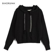 Biaoruina feminino clássico all match casual camisola de malha feminina moda vintage hoodies chique faixa feminina pullovers all match