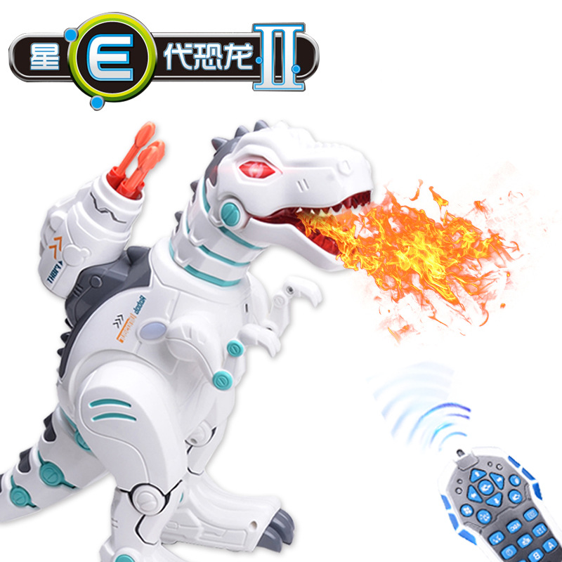 Remote Control Fire-Breathing Dinosaur Intelligent Robot Educational Play Elastic-Powered Model Dinosaur Yi Er Music 88002