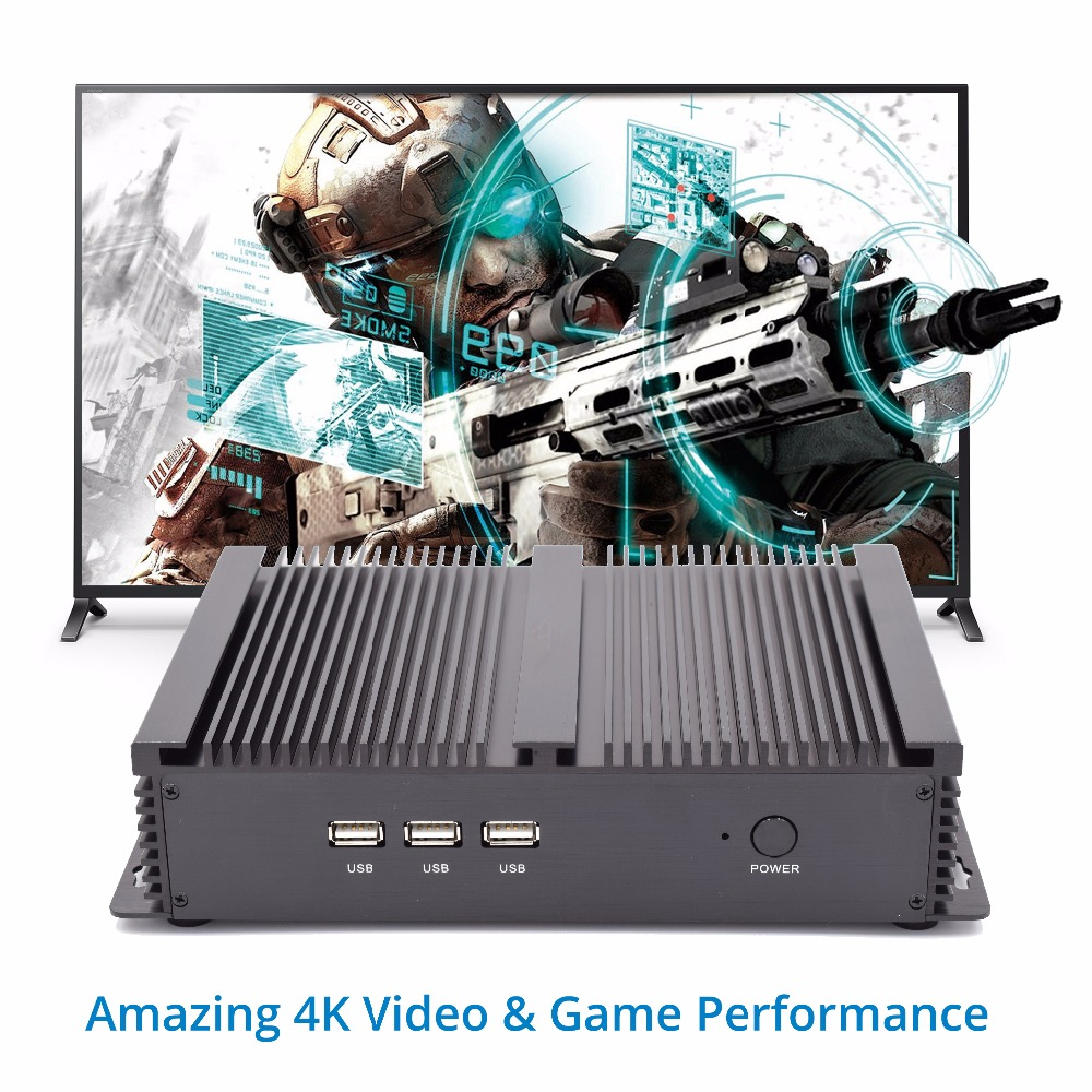 Eglobal 24Hours working fanless industrial computer intel core i5 4200U i7 5500U <font><b>i3</b></font> <font><b>5005U</b></font> HDMI VGA Win10 Linux fanless 4K HTPC image