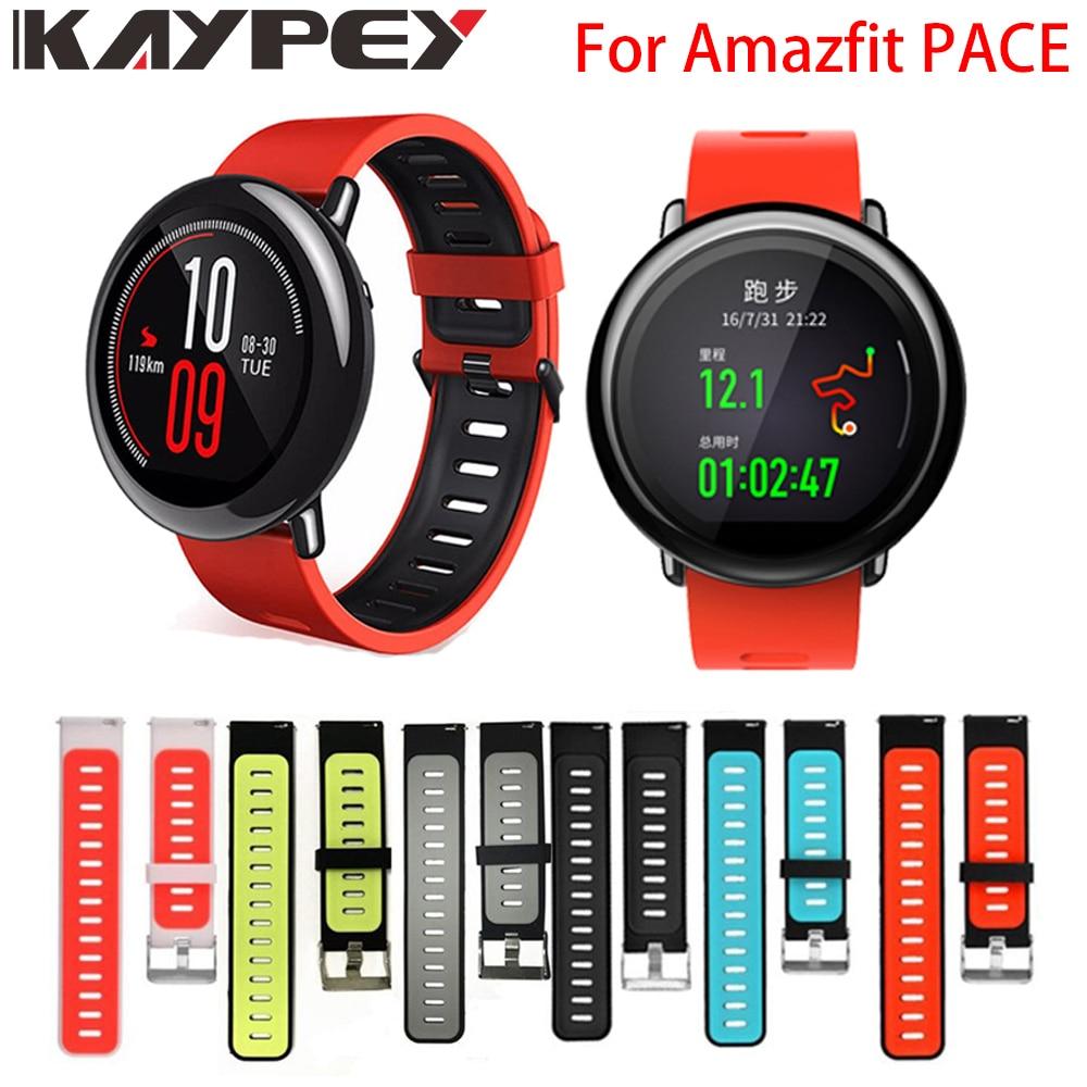Ремешок на запястье 22 мм спортивные силиконовые полосы для Xiaomi Huami Amazfit PACE Stratos 2 2S GTR 47 мм Смарт-часы замена Смарт-браслет