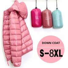 7XL Cheap Ultra Light Down Winter Warm Hooded Feather Puffer Jacket For Girl Sho