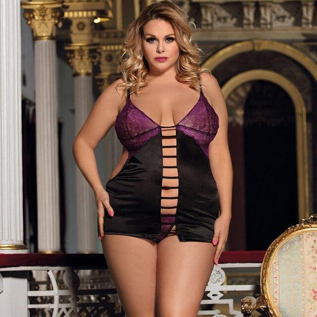 Sensual Night Wear Nuisette Lace Back Open Lingerie Set Plus Size #F1628 2