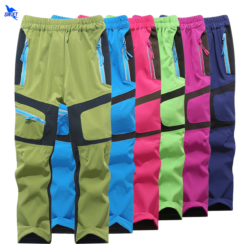 2019 Summer Autumn Kids Outdoor Quick Dry Hiking Pants Boy Girl Camping Ultralight Elastic Breathable Thin Trousers Sportswear