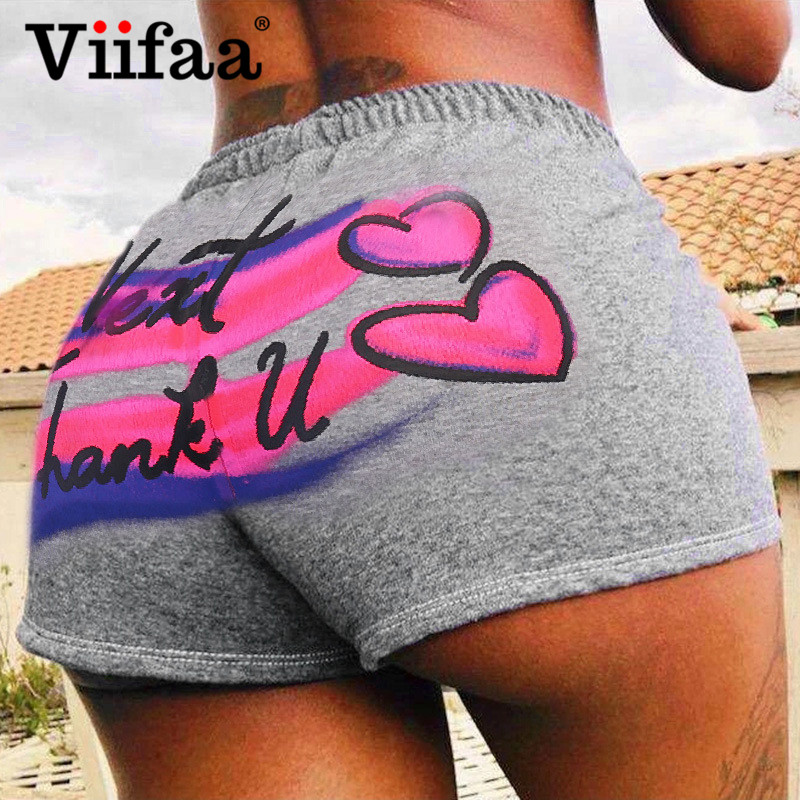 Viifaa Grey Letter And Multicolor Graphic Print Sporting Casual Shorts Women Elastic Waist Summer Fitted High Waist Shorts