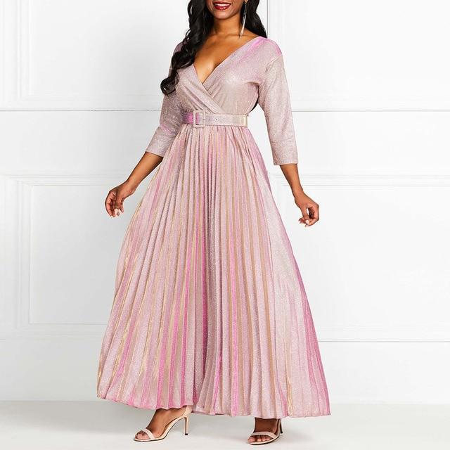 2019 Reflective Long Dress Women Pleated Sexy Deep V Neck Elegant Autumn High Waist Belt Glitter Evening Party Pink Maxi Dresses 2