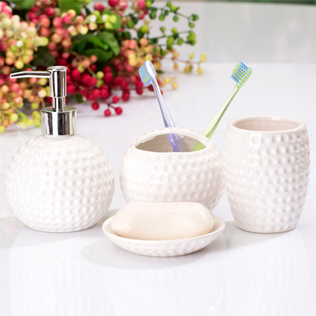 4PCS Ceramic Bathroom Accessories Set Soap Dish Cup Tumbler Toothbrush Dispenser Toothpaste Holder Shampoo Bottle Black White image