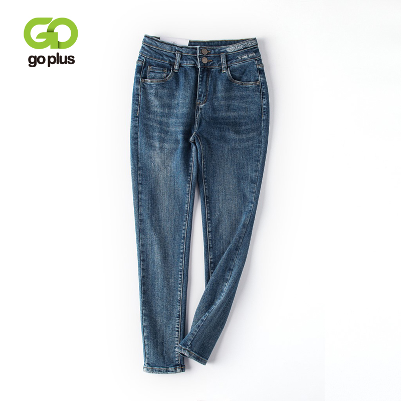 GOPLUS Skinny Jeans Woman Letters Embroidery High Waist Jeans Stretch Pencil Pants Spodnie Damskie Abbigliamento Donna C9750