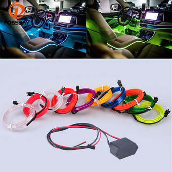 POSSBAY 1M Auto Car Interior LED EL Wire Rope Tube Line Flexible Neon Light Glow El Salon Flat 12V Strip Pathway Lighting image