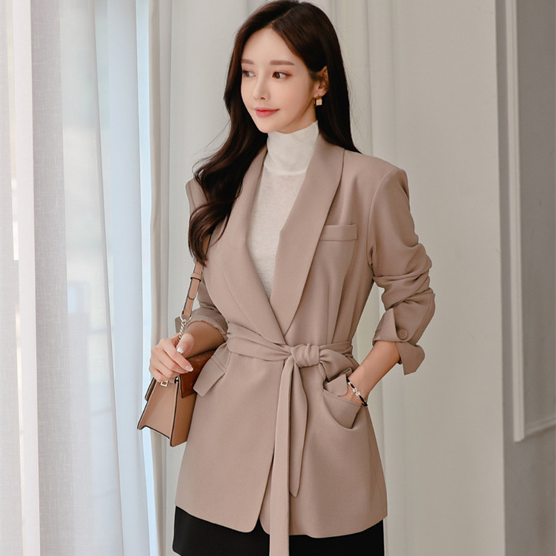 HziriP Korean Office Wear Women Blazers And Jackets New 2020 Autumn Spring Outerwear Solid Plus Size Notched Blazer With Belt