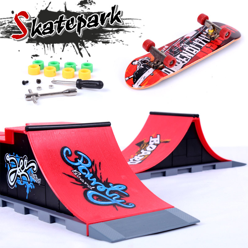 Mini Skateboard Toy Finger Board Ramp Parts Kit Skate Park Boy Kid Children Gift
