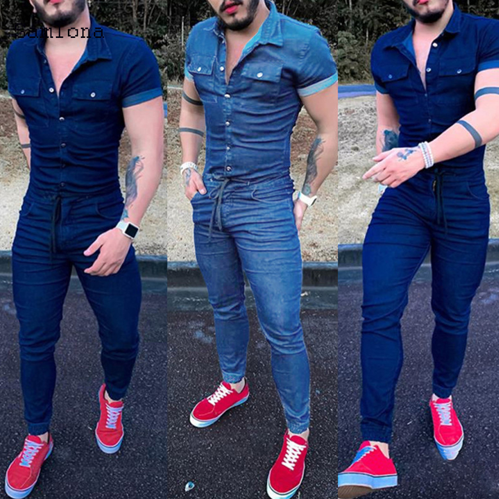 New Denim Pant Jumpsuit Mens Overalls Casual Notched Short Sleeve Romper Solid Color Overall Single Breasted Pocket Romper Jeans