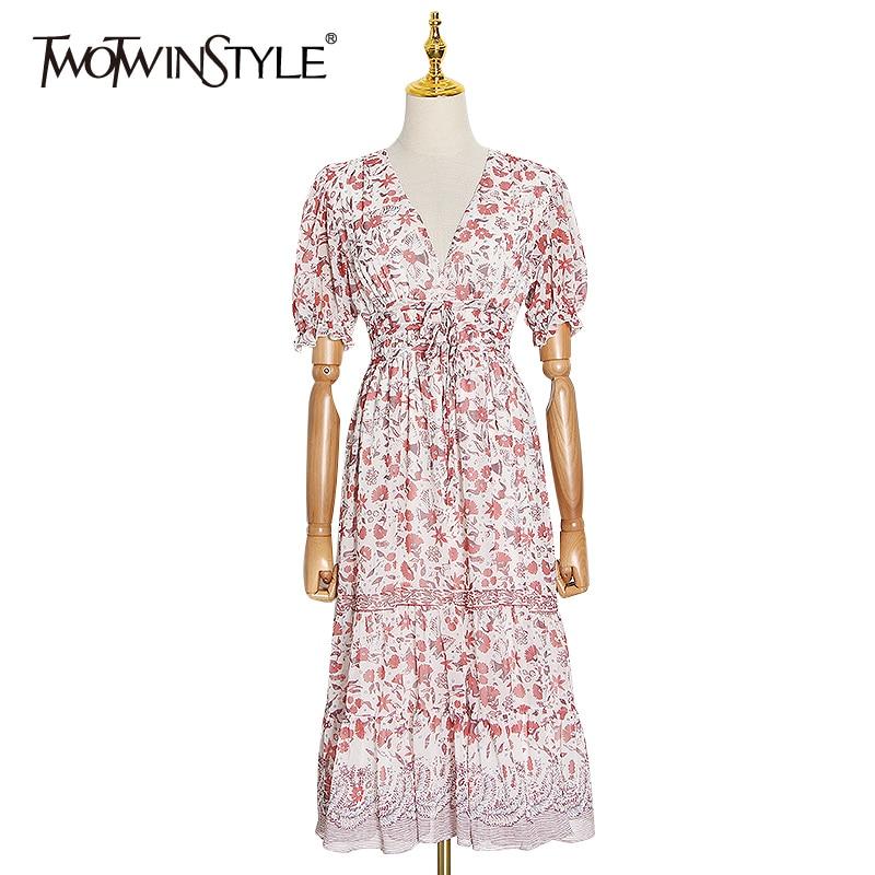 Платье с принтом TWOTWINSTYLE, женское платье А силуэта с треугольным вырезом и рукавами фонариками, высокой талией и бантом на лето 2020|Платья|   | АлиЭкспресс