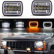 2 stücke Platz 7x6 5x7 inch LED Scheinwerfer für Jeep  Wrangler YJ Cherokee XJ  Toyota  GMC Lkw H6054 H5054 H6054LL Chrom