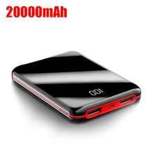 цена на Mini Power Bank 20000 mAh 2 USB Pover Bank Portable Fast Charger Powerbank External Battery Pack for iPhone Xiaomi Mi Poverbank