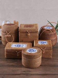 Jewelry-Case Tea-Container Wood-Box Kitchen-Organizer Rattan-Storage Puer Square Bulk